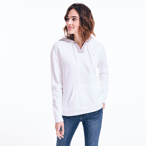 SPLIT NECK PULLOVER HOODIE - Bright White