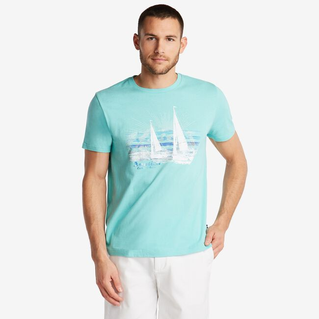 JERSEY T-SHIRT IN SAILING GRAPHIC,Poolside Aqua,large
