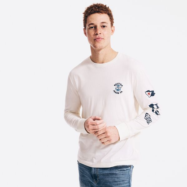 NAUTICA JEANS CO. SUSTAINABLY CRAFTED GRAPHIC LONG SLEEVE T-SHIRT - Sail Cream