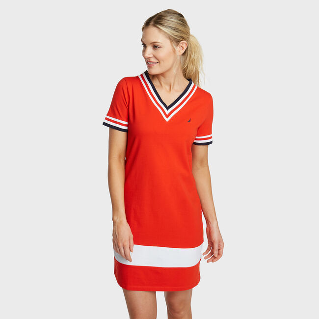 Elbow Sleeves Knit Dress,Firey Red,large