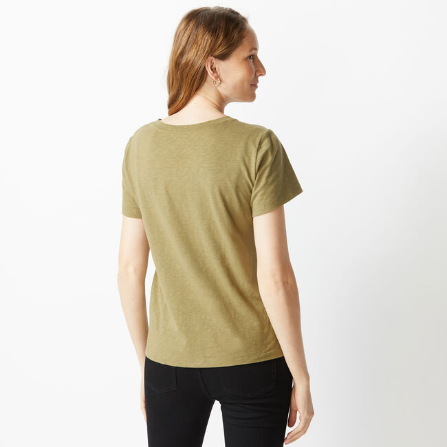NAUTICA JEANS CO. SOLID V-NECK POCKET TEE,Wave Green,large