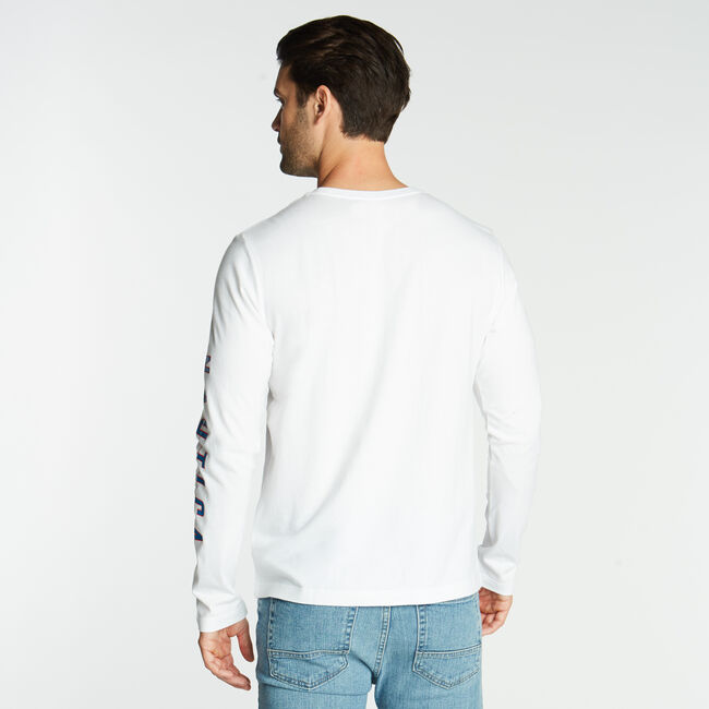 LONG SLEEVE JERSEY T-SHIRT IN OCEANOGRAPHY GRAPHIC,Bright White,large