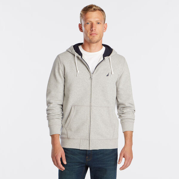 NEW FULL ZIP HOODIE - Grey Heather