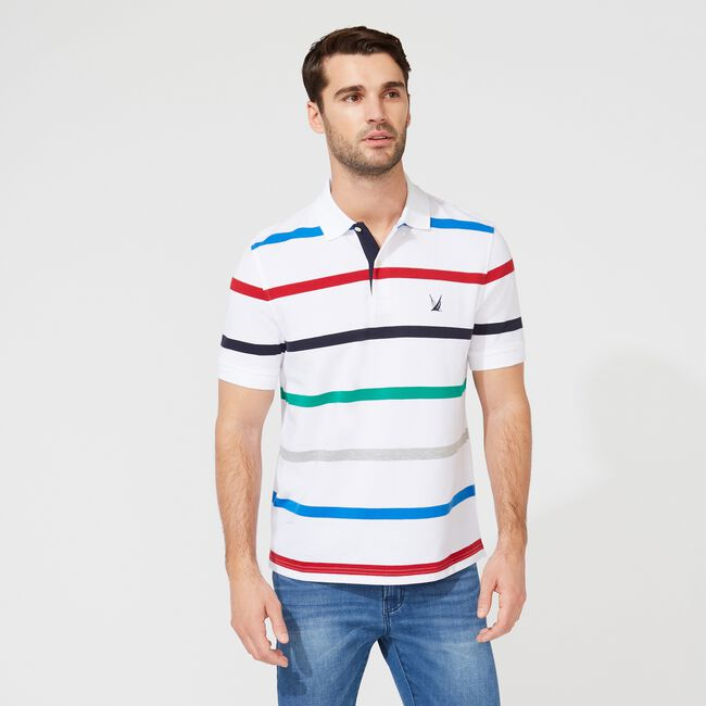 CLASSIC FIT STRIPED POLO,Bright White,large