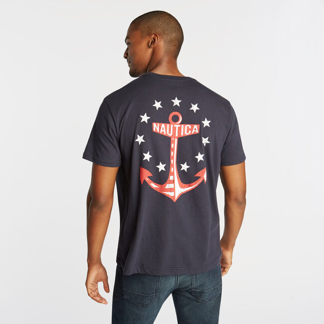 STARS AND ANCHOR GRAPHIC T-SHIRT,Navy,large