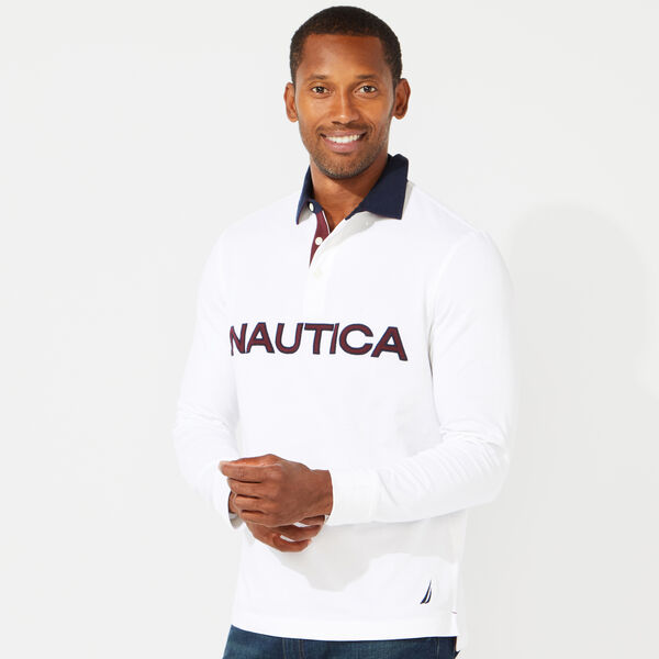 CLASSIC FIT LONG SLEEVE RUBGY POLO - Bright White
