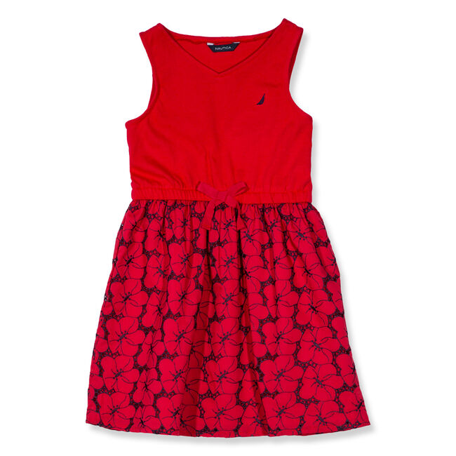 Toddler Girls' Combo Eyelet Bottom Dress (2T-4T),Nautica Red/Orange,large