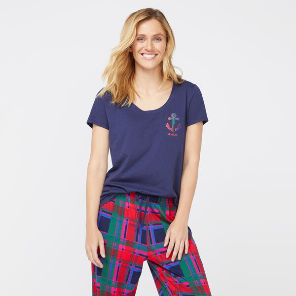 ANCHOR POCKET PLAID SHORT SLEEVE SET - Admiral Blue