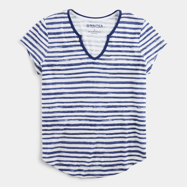 NAUTICA JEANS CO. STRIPE SPLIT NECK TOP - Blue Depths