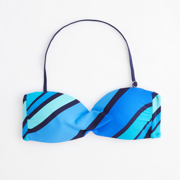STRIPED BANDEAU TOP - Stellar Blue Heather