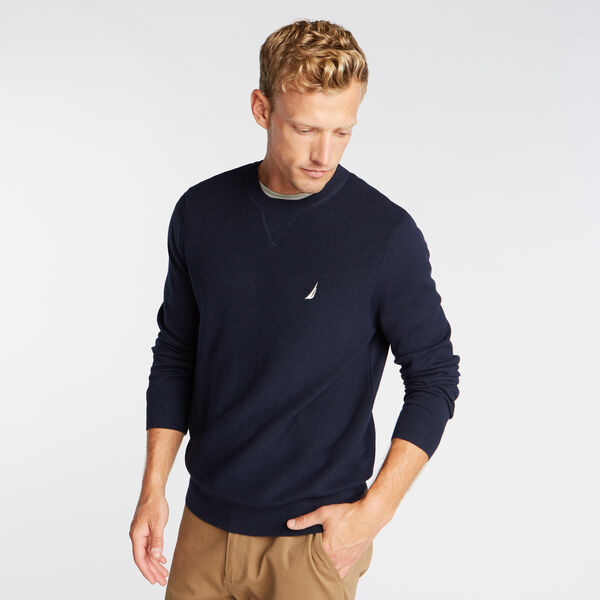 CREWNECK RIBBED FRONT SWEATER - Pure Dark Pacific Wash