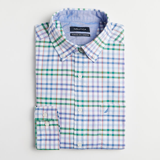 CLASSIC FIT PLAID OXFORD SHIRT,Bright White,large