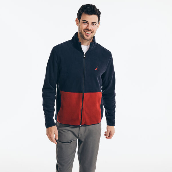 NAUTEX COLORBLOCK MOCK-NECK FULL-ZIP FLEECE - Navy