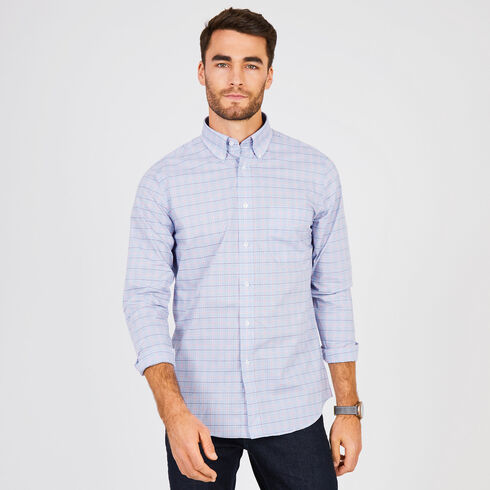 Windowpane Check Classic Fit Long Sleeve Shirt - Admiral Blue