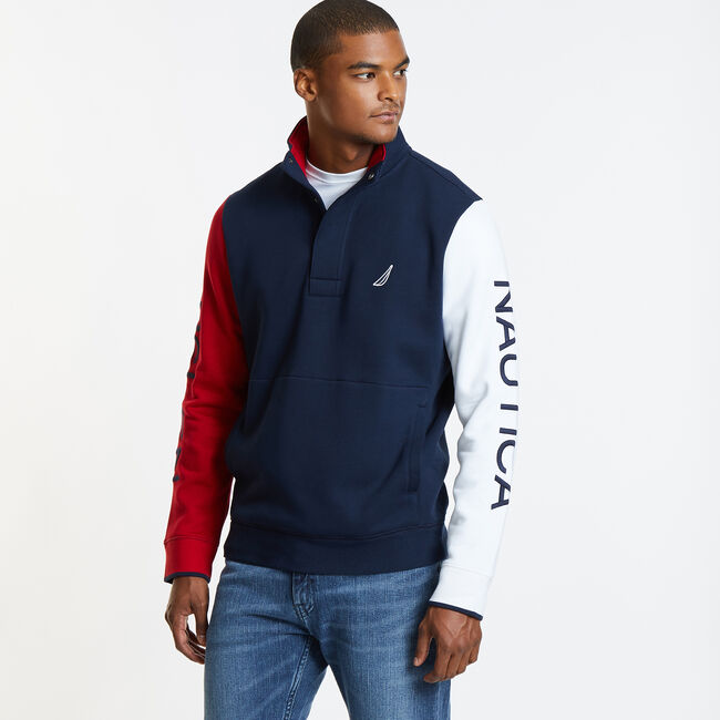 Colorblock Heritage Mock-Neck Active Pullover,Navy,large