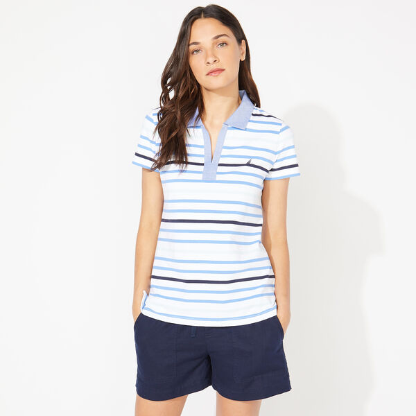 STRIPED PIQUÉ POLO - Bright White