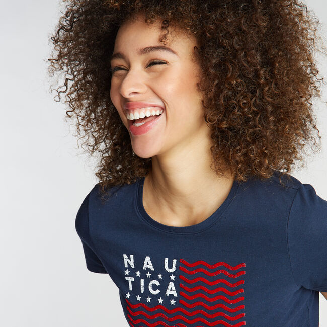 CLASSIC FIT T-SHIRT IN FLAG GRAPHIC,Stellar Blue Heather,large