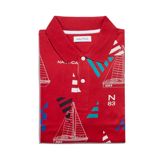 CLASSIC FIT PRINTED POLO IN GEO SAILING PRINT,Nautica Red,large