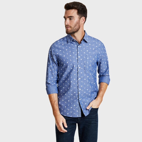 LONG SLEEVE PRINTED CHAMBRAY  SHIRT IN CLASSIC FIT  - Bluefish
