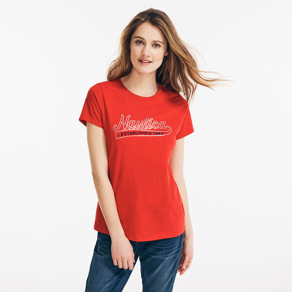 EMBROIDERED METALLIC FOIL LOGO T-SHIRT - Tomales Red