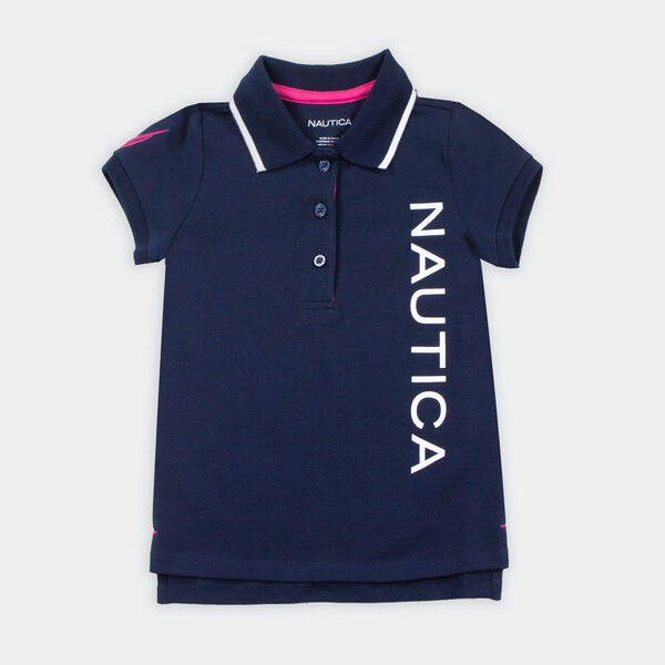 GIRLS' LOGO GRAPHIC POLO (8-20) - Navy