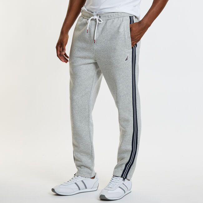 Striped Ankle Zip Active Pants,Grey Heather,large