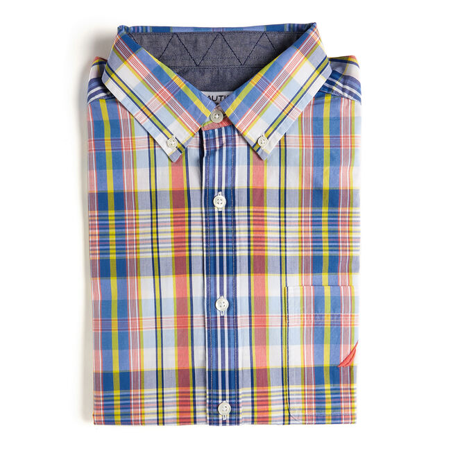 Short Sleeve Classic Fit Shirt in Plaid,Spiced Coral,large