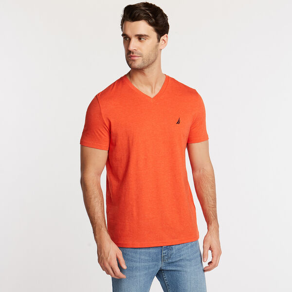 SOLID V-NECK SLIM FIT TEE  - Lure Red Heather