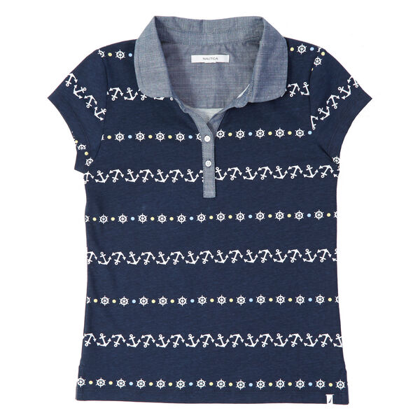 Little Girls' Chambray Trim Anchor Polo Shirt (2T-7) - Navy