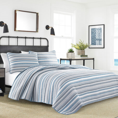 Jettison King Quilt Set in Grey Blue - Blue Heather