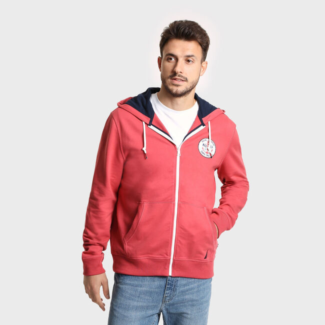 Artist Series J Class Logo Full Zip Hoodie,Coral Cape,large