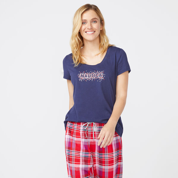 RED PLAID STARRY NAUTICA SHORT SLEEVE SET - Lure Red