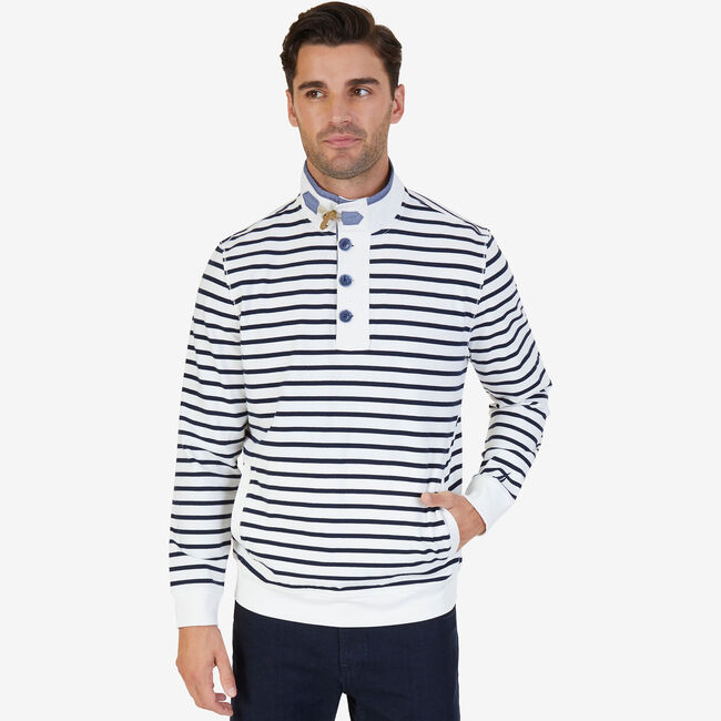 Striped Funnel Neck Pullover,Marshmallow,large