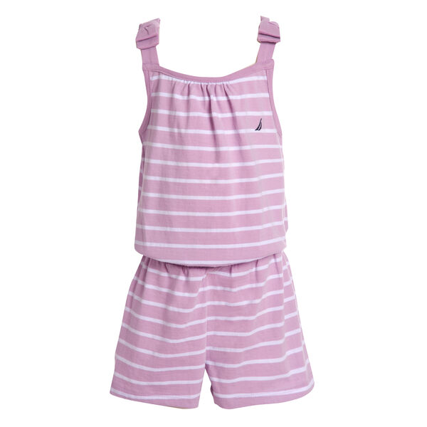 GIRLS' STRIPE BOW-ACCENTED KNIT ROMPER (8-20) - Thistle
