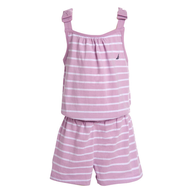 GIRLS' STRIPE BOW-ACCENTED KNIT ROMPER (8-20),Thistle,large