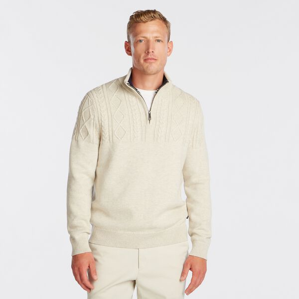 QUARTER-ZIP CABLE-KNIT SWEATER - Oatmeal Heather
