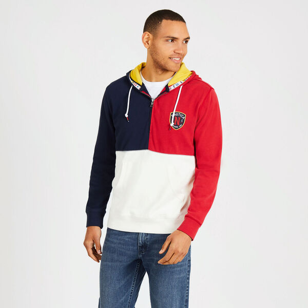 Colorblock Quarter-Zip Pullover Hoodie - Rescue Red