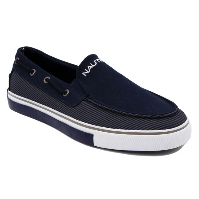 Doubloon Boat Shoe in Navy Stripe,Pure Dark Pacific Wash,large