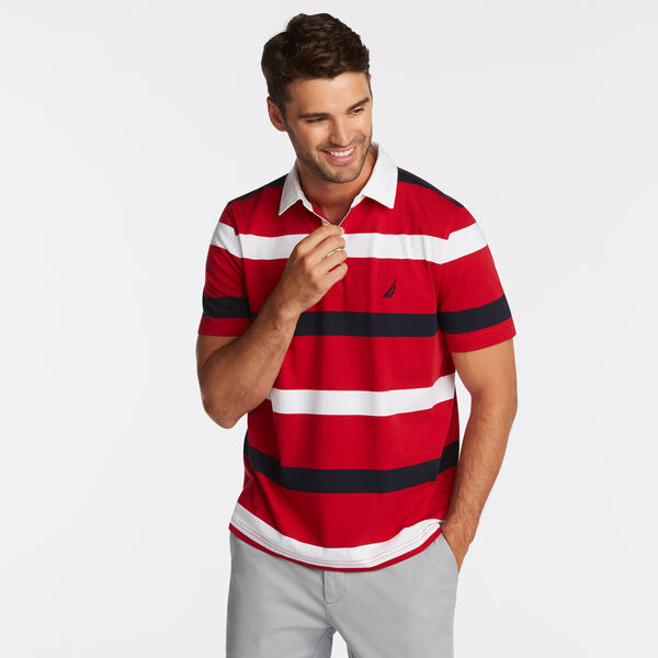 CLASSIC FIT NAVTECH MIXED STRIPE POLO - Nautica Red