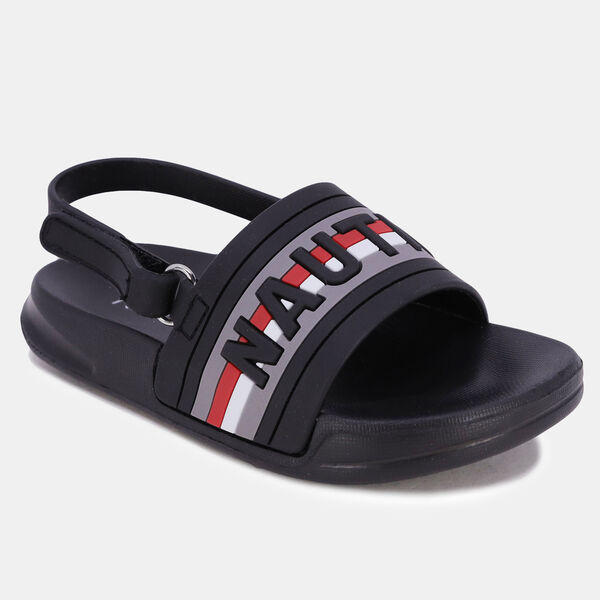 BOYS' LOGO EMBOSSED ANKLE STRAP SANDAL - Black