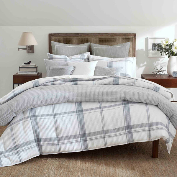 Bronwell Duvet Set in Grey Windowpane - Grey Heather