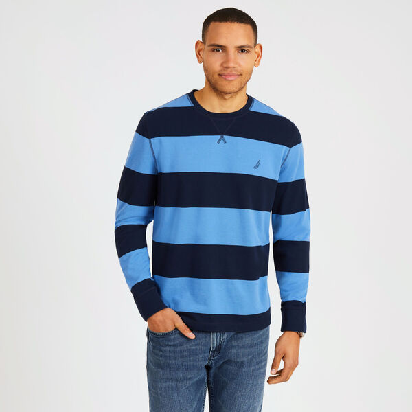 Big & Tall Rugby Stripe Crewneck Pique Sweater - Pure Dark Pacific Wash
