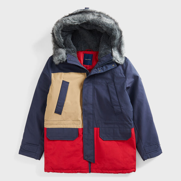 SUSTAINABLY CRAFTED COLORBLOCK FAUX FUR TRIMMED PARKA - Navy
