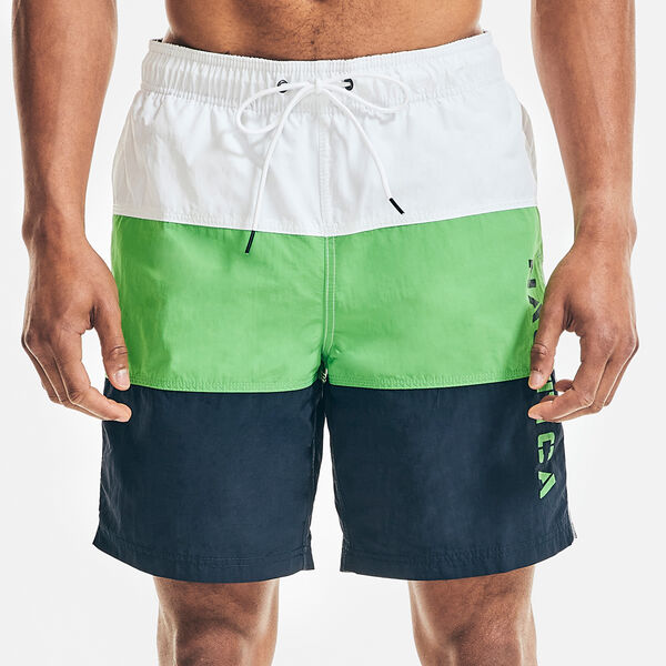 "8"" COLORBLOCK LOGO PRINT SWIM SHORTS - Tillman Bay"