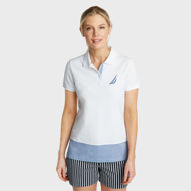 Classic Fit Mixed Media Polo,Bright White,large