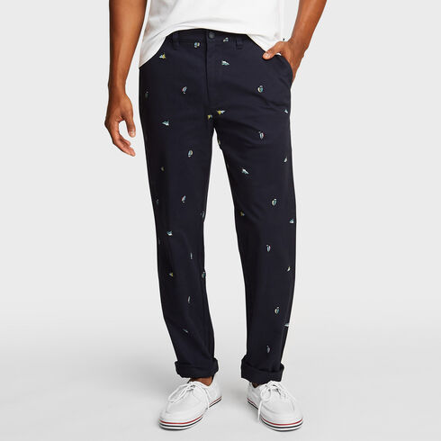 Flat Front Twill Deck Pant in Icon Motif - Navy
