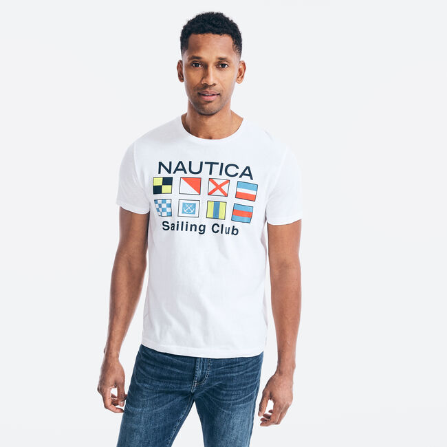 SAILING FLAGS GRAPHIC T-SHIRT,Bright White,large