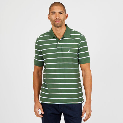 Short Sleeve Classic Fit Striped Deck Polo - Green Glow