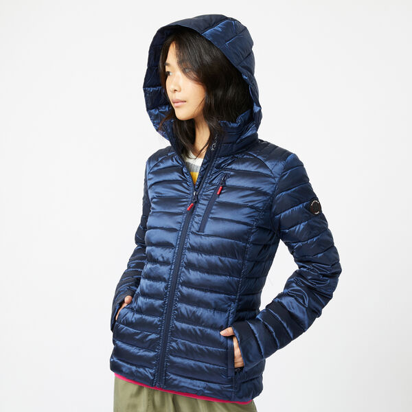 PACKABLE IRIDESCENT HOODED COAT - Stellar Blue Heather