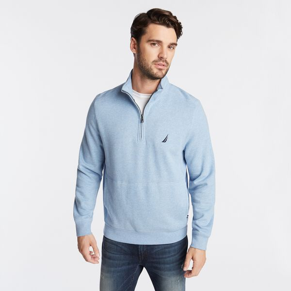 SUEDED FLEECE QUARTER ZIP PULLOVER - Charcoal Blue Heather